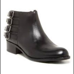 Franco Sarto Black Cyan Leather Ankle Boot